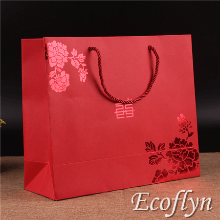 custom red paper bags with handles