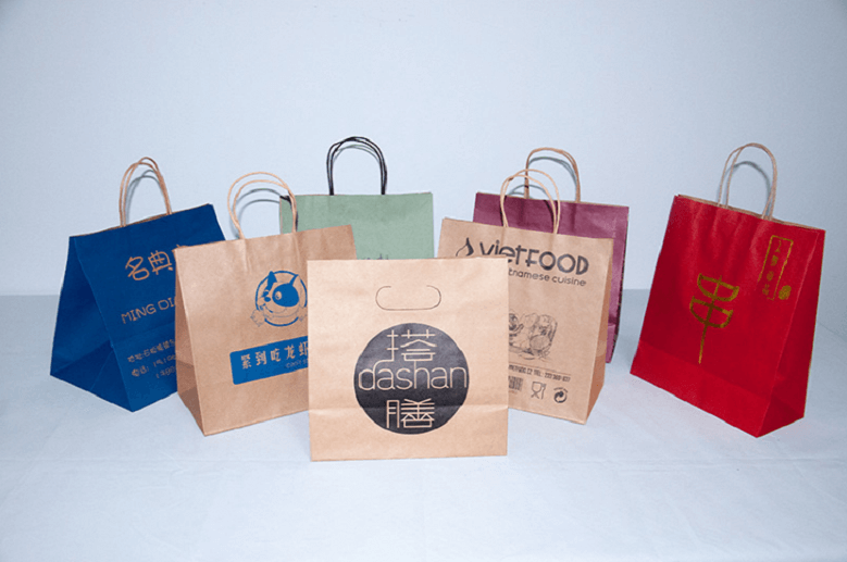 multiple colors paper kraft shopping bags with handles bulk wholesale & in stock