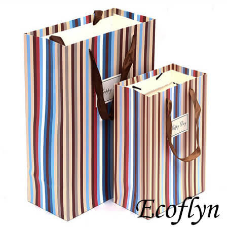 custom colored striped paper party bags