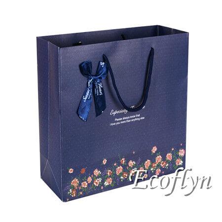 cutom print navy blue gift bags