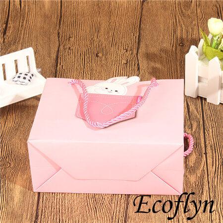 pink gift bags bulk square paper packaing bags
