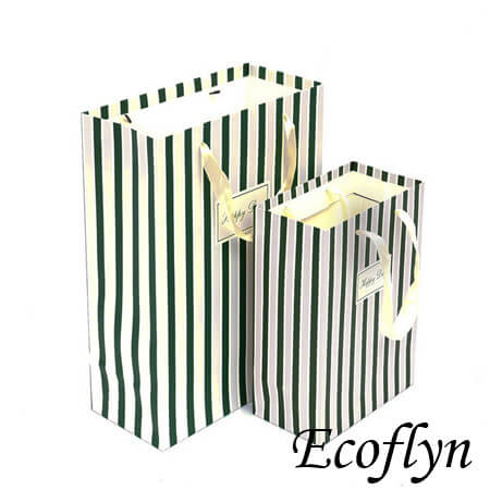 striped paper party bags with ribbon handle
