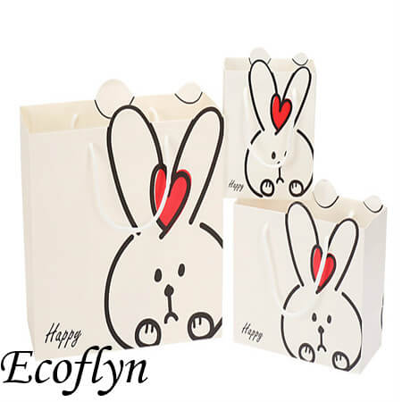 white easter bunny paper bags bulk supply