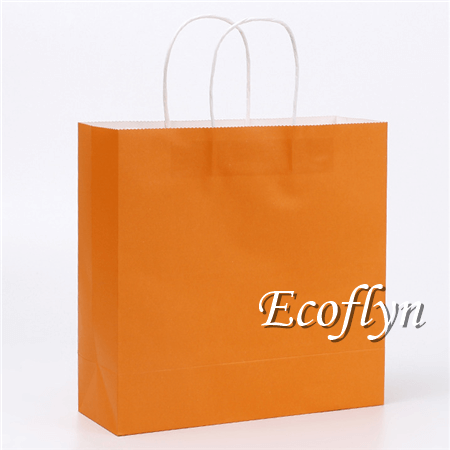 orange paper shopping bags wholesale
