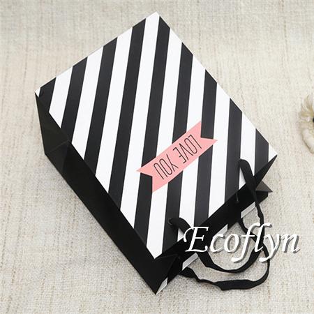 stripe printed black gift bags bulk