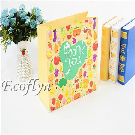 custom light yellow thank you paper bags sale-Ecoflyn
