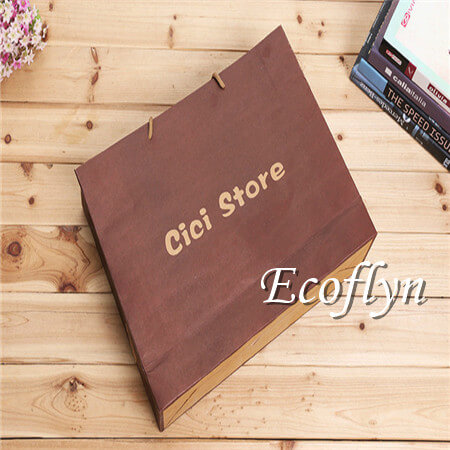 custom printed kraft paper shopping bags with handles discount offer-Ecoflyn