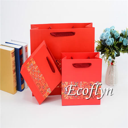 printed red gift bags with handles-Ecoflyn