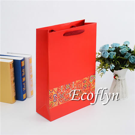 red gift bags with handles discount wholesale-Ecoflyn