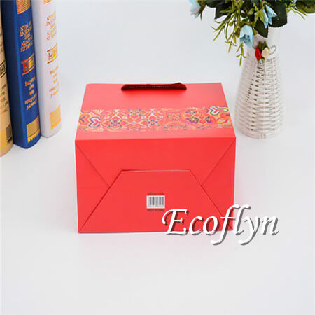red gift bags with handles paper promotion bags-Ecoflyn