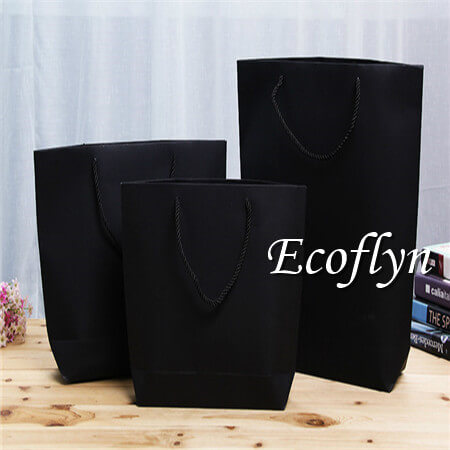 black bulk paper shopping bags twisted handles offerring-Ecoflyn