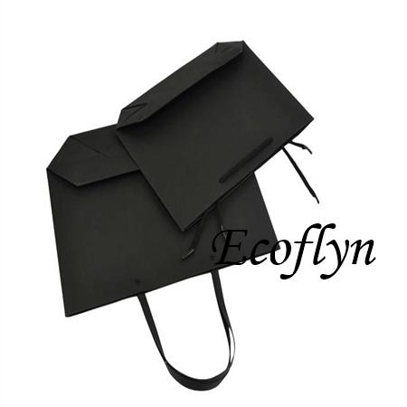 black paper shopping bags bulk supply - Ecoflyn