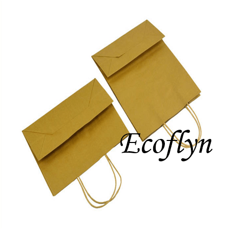 brown kraft paper bags with handles wholesale-Ecoflyn