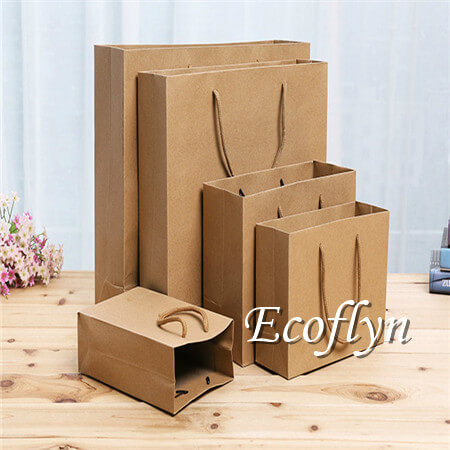 brown kraft paper shopping bags bulk offer-Ecoflyn