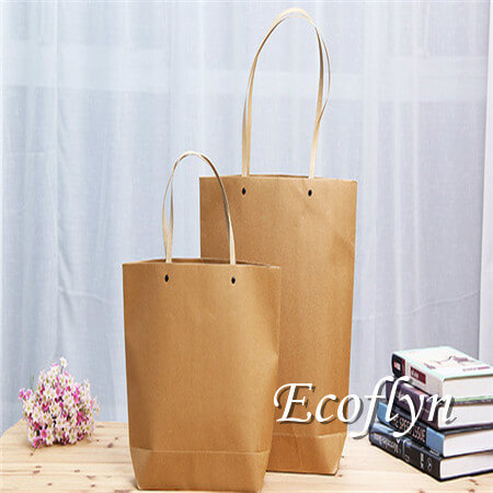 brown kraft personalized paper shopping bags sale online-Ecoflyn