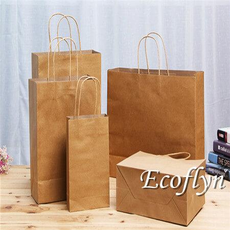 brown kraft shopping paper bags wholesale online-Ecoflyn
