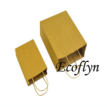 bulk kraft paper bags with handles wholesale-Ecoflyn