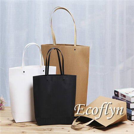 colored kraft personalized paper shopping bags bulk supply-Ecoflyn