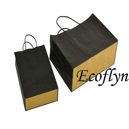 coloured kraft paper bags with handles bulk supply-Ecoflyn