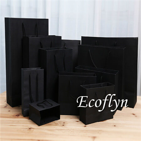 custom black paper shopping bags bulk wholesale-Ecoflyn