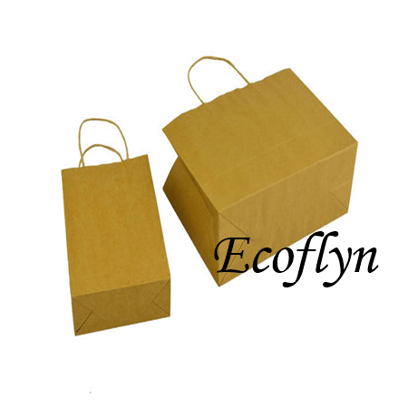 custom kraft paper bags with handles wholesale-Ecoflyn