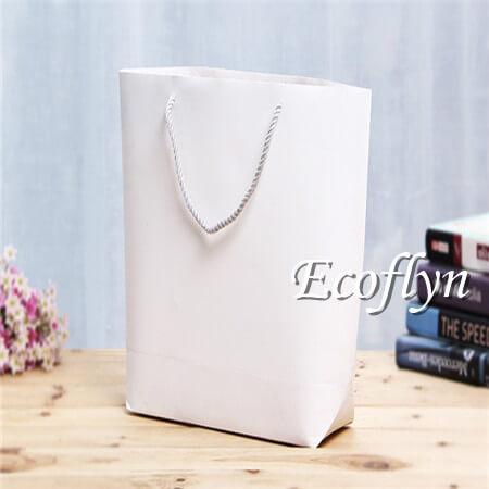 custom white bulk paper shopping bags tote bags-Ecoflyn