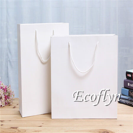customized popular paper shopping bags bulk sale with handles-Ecoflyn