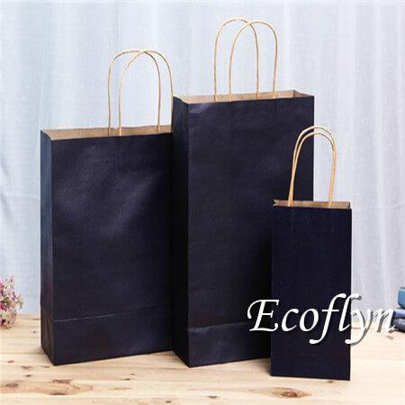 dark blue shopping paper bags wholesale supply-Ecoflyn