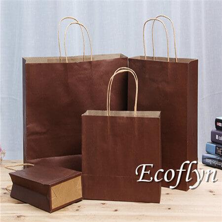 dark brown shopping paper bags wholesale-Ecoflyn