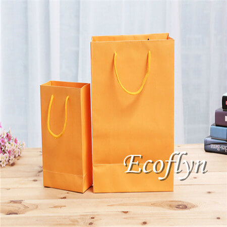 fresh orange paper shopping bags bulk supplying-Ecoflyn