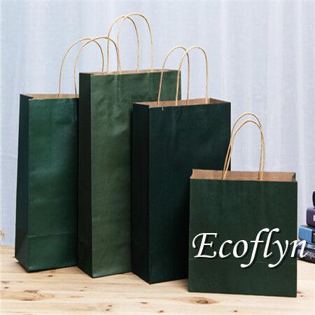hot green shopping paper bags wholesale-Ecoflyn