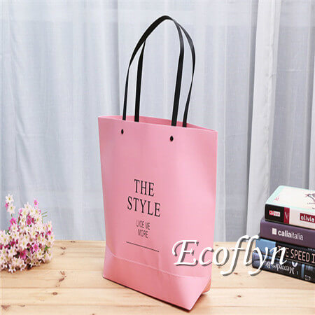 hot pink paper bags handle bags low minimum-Ecoflyn