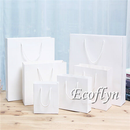 hot sale white paper shopping bags bulk sale-Ecoflyn