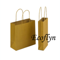 kraft paper bags with handles wholesale-Ecoflyn