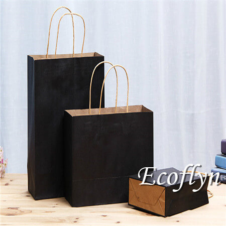 plain black shopping paper bags wholesale-Ecoflyn