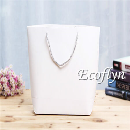 white plain bulk paper shopping bags with twisted handles sale-Ecoflyn