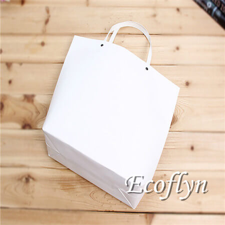 white plain personalized paper shopping bags handle bags supply-Ecoflyn