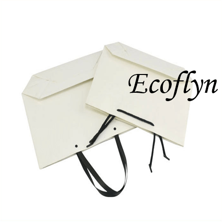 bulk white paper bags with handles low minimum-Ecoflyn