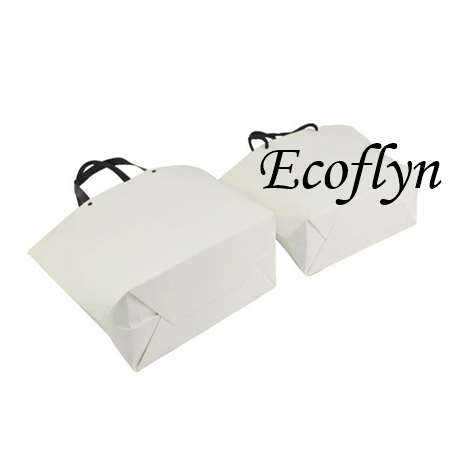 bulk white paper bags with handles portable shopping bags-Ecoflyn