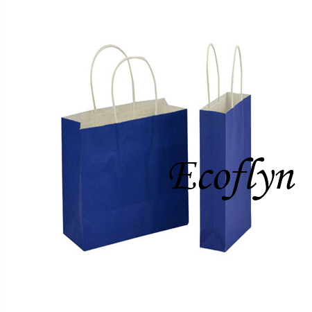 custom designed navy blue paper gift bags supply-Ecoflyn
