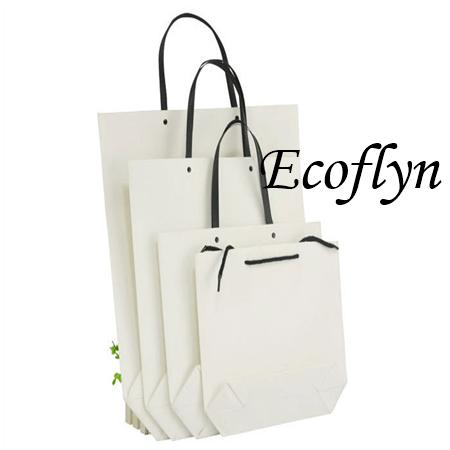 flat bulk white paper bags with handles-Ecoflyn