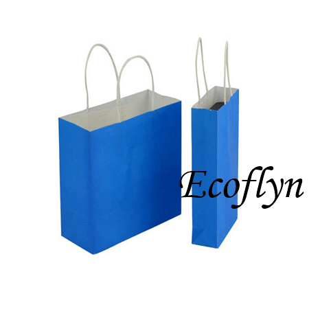 custom blue kraft paper bags discount offer-Ecoflyn