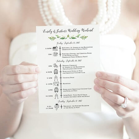 customized wedding itinerary