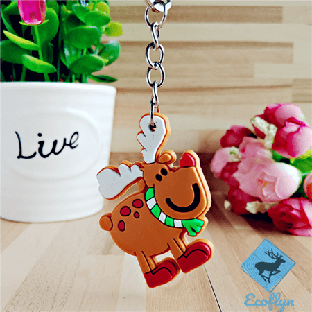 in stock custom pvc keychains Christmad reindeer free sample low minimum bulk orders wholesale