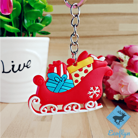 personalized soft custom pvc keychains Santa sleigh keychains Christmas decorating promotional gifts bulk wholesale supply