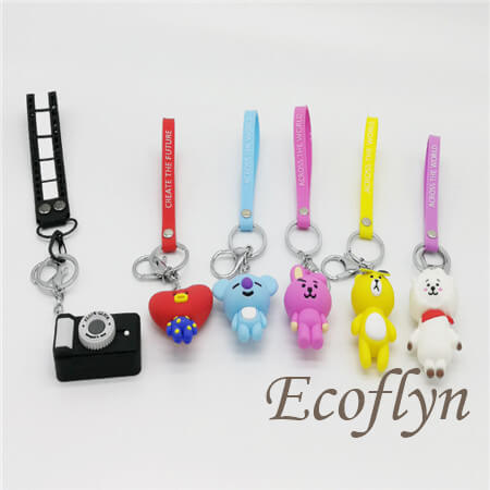 free sample pvc rubber keychain wholesale in China