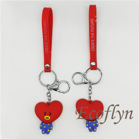 red popular pvc rubber keychain in stock bulk supply