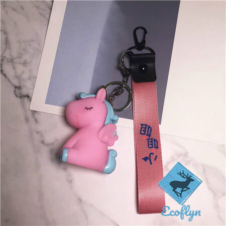 custom personalized unicorn keychains with riband low minimum wholesale in China