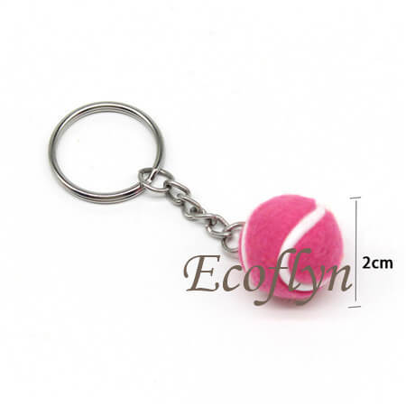 custom pink cute free sample tennis ball key rings sports keychains wholesale in bulk