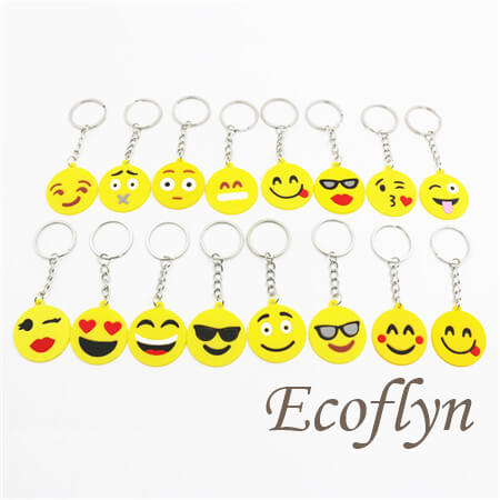 free sample custom personalized PVC rubber emoji keychains bulk emoticon keychains low minimum wholesale